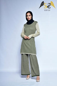 Green Stripe Top And Pant Set