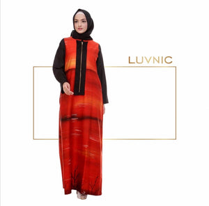 Luxury Silk Satin Abaya Purnama Maxi Dress