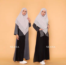 Load image into Gallery viewer, Grey & Black Maxi Dress/Abaya - 100% Cotton