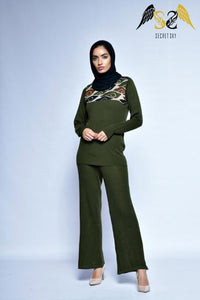 Moss Green Top And Pant Set