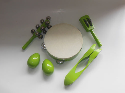Green 5 Piece Percussion Set