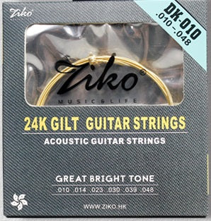 Ziko Extra Light Gold Plated Acoustic Guitar Strings