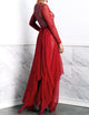 Leila Mesh Long Skirt Red. BACCIO Miami Fashion Design. Hand made dresses
