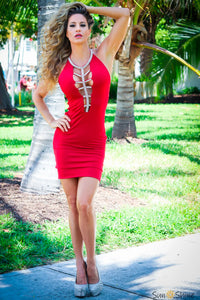 Vie Sauvage VS1076 Red W Silver Dallas Dress