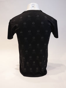 THE SAINTS SINPHONY  2987 SS BLK TSHIRT W SMALL BLK SKULL PRINT W JET CRYSTAL EYES   size