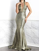 Maya Painted Long Green. BACCIO Miami Fashion Design. Hand made dresses