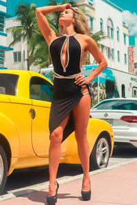 VIE SAUVAGE VS1116 MIRANDA BLACK HALTER BACK TO FRONT TIE A HIGH SLIT WITH GOLD STONE