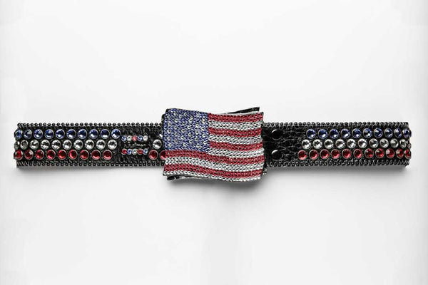 BB SIMON L#J59 LT SIAM/CLR/SAPP BF AMERICAN FLAG - 6034 BUCKLE regular shape buckle 966