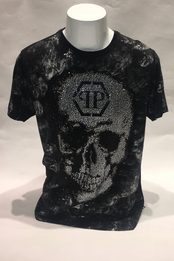 PHILIPP PLEIN A18C MTK2675 PJY002N BLACK W GREY T-SHIRT W BIG CRYSTAL SKULL