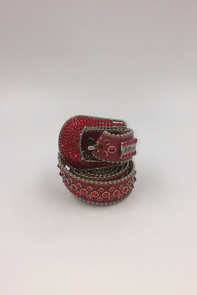 RED W LT SIAM CRYSTALS N SILVER FINISH