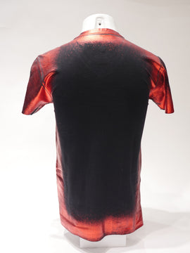 RAWYALTY RMTV-928-OFR INDIAN. BLACK W RED FOIL T-SHIRT W BIG INDIAN. RAWYALTY COUTURE IN RED FOIL