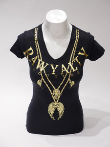 WING CHAIN T-SHIRT BLACK/GOLD