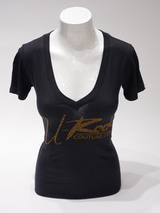U-ROCK BLACK T-SHIRT W GOLD