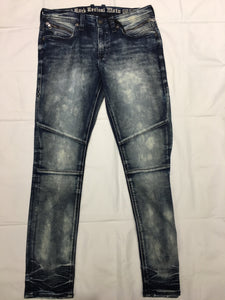 ROCK REVIVAL RP2132S210 LEAN S210 SKINNY MOTO. STRETCHY DARK WASH JEANS W ZIPPER DETAILS ON POCKETS
