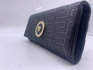 VERSACE BLACK WALLET W GOLD MEDUSA
