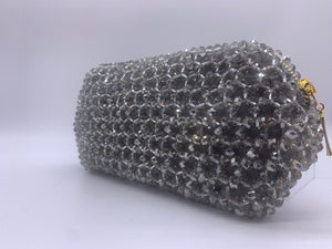 BENI DESIGN CLUTCH GLASS BEADED SILVER