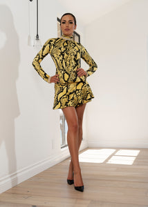 Dr8024 BLACK AND YELLOW PITON DRESS