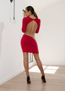 DR8032 RED NUDE BACK DRESS