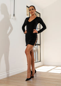 DR8033 BLACK OPEN SIDE DRESS