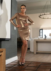 Dr8815sv GOLD NUDE BACK DRESS