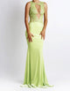 Luz Jersey Painted Long Light Green BACCIO Fine Dresses. Miami Design