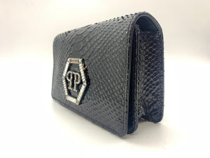 PHILIPP PLEIN S19A WBA0847 PLE038N BLACK POUCH LAMB LEATHER W PYTHON SKIN DESGIN size ONE