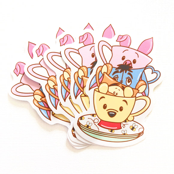 Hundred Acre Friends Teacups Sticker