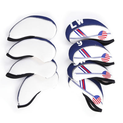 Thick Waterproof Nylon Golf Iron Club Head Covers US FLAG (10 Pcs)
