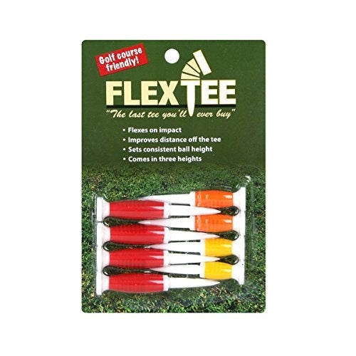 FlexTee - Flexible Golf Tees (8 Pack), Florescent Red/Orange/Yellow (product packaging may vary)