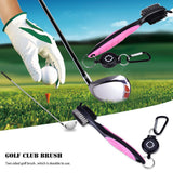 Golf Brush and Club Groove Cleaner 2Ft Retractable Zip-line Aluminum Carabiner Easily Attaches to Golf Bag