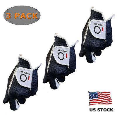 Men's Soft Durable Water Resistant Soft Fit Golf Gloves  (3 Pack)