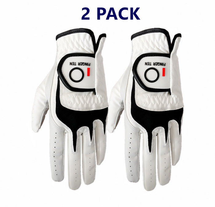 Men's Leather Golf Gloves -2 Pack with All Weather Grip