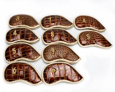 Golf Clubs iron headcover Crocodile Skin PU Leather (10 pcs)