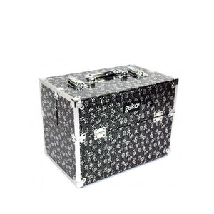 Geko Makeup Case - Silver Flowers