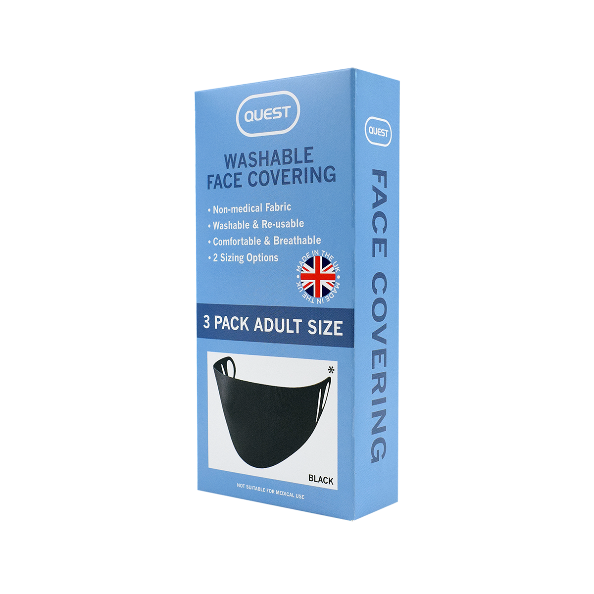 Quest Adult Face Covering - 3 Pack