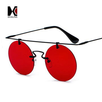 SHAUNA Super Light Weight Women Rimless Round Sunglasses Fashion Men Mirror Lens Gothic Punk Glasses