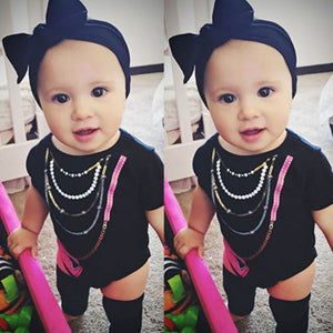 Newborn Toddler Infant Baby Boy Girl Romper Jumpsuit with Bag Necklace Print Costume Short Sleeve Clothes