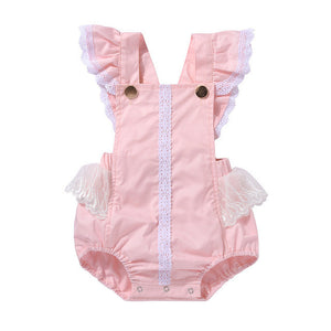 Newborn baby girl rompers Sleeve Lace Patchwork coveralls infant princess Lace Floral Romper Jumpsuit Outfits Backless Clothes