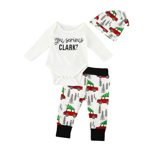 Newborn Infant Baby Boys Tops Letter Rompers + Long Pants Legging Car Printing +Hat Playsuit Baby Boy Clothes Outfit Set 3pcs