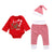 3pcs/Set Newborn Baby Christmas Clothes Set Long Sleeve Letter Print Romper+Striped Pants+Cap Fashion Infant Girl Boy Outfit Set