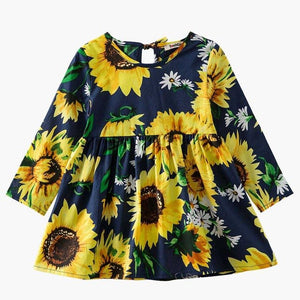 Roses Floral Printed Baby Girl Dresses Spring Autumn Long Sleeve Princess Dress Casual Flower Children Clothes Tutu Sundress
