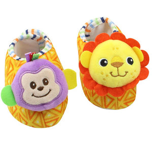 1 Pair TOLOLO Baby Rattle Toys Rattle Foot Plush Shoes Protect For Fun BM88