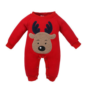 Baby Winter Christmas Clothes Newborn Baby Thicken Fleece Animal Cartoon Long Sleeves  Kids Baby Boys Girls Romper