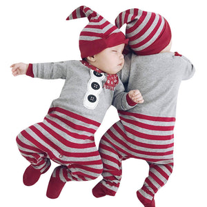Christmas Newborn Baby Girls Boys Rompers Jumpsuit+Hat 2Pcs Set Outfit Clothes