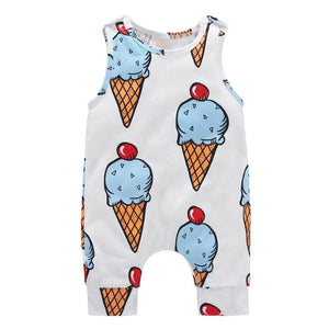 Unisex Baby Rompers Kids Sweet Ice Cream Print Cotton Sleeveless O-neck Casual Jumpsuit Soft Playsuit Boys Girls Clothes