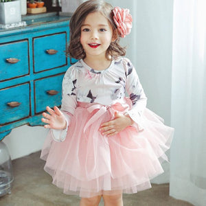 Autumn Long Sleeve Little Girl Flower Print Kids Costume For Girl Clothing Winter Tutu Dress Children School Clothes Vestidos