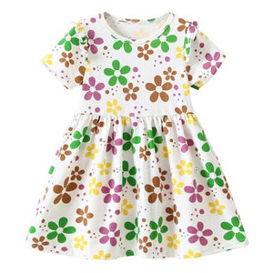 JOCESTYLE Summer A-Line Dress Baby Girls Fruit/Flower Print Short Sleeve O-neck Party Casual Sundresses 2-6T Kids Cute Clothing
