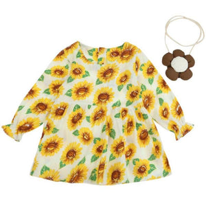 Fashion Baby Girls Basic Summer Dress Kids Sunflowers Long Sleeve with Bag