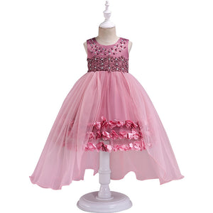 2018 Summer baby Girl Dress party evening dresses Children's 5 color long trailing princess dress for age 2 to10 years wear