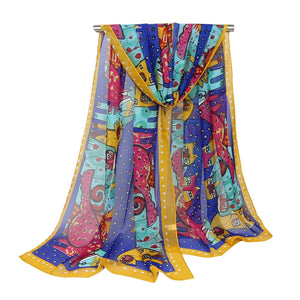 Colorfully Fun Cat & Dog Cartoon Scarf
